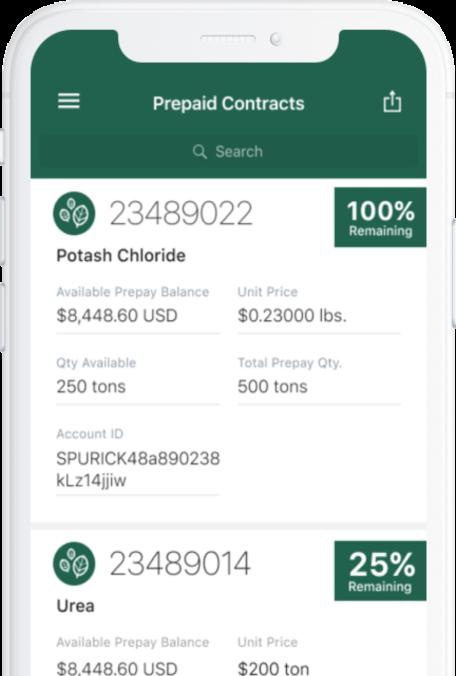 Image of phone screen displaying prepaid data