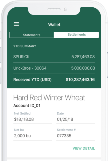 Image of phone screen displaying wallet data