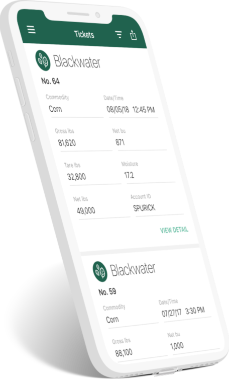 Image of phone screen displaying ticket data on app
