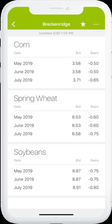 Image of phone screen displaying price data