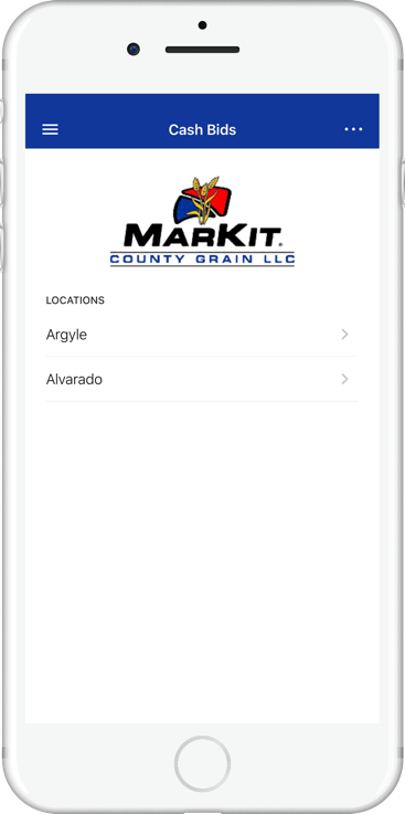 Image of phone screen displaying cashbids data