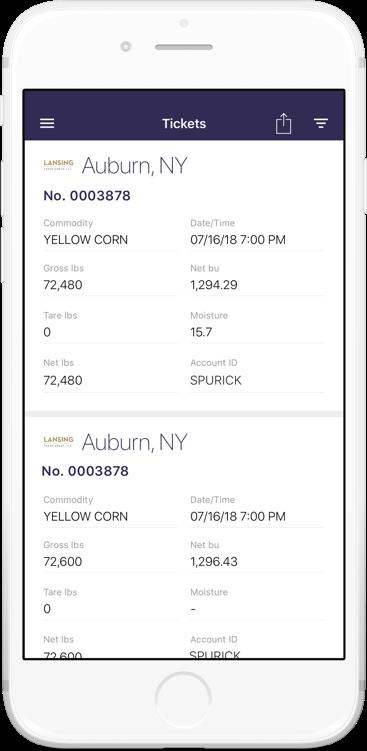 Image of phone screen displaying ticket data