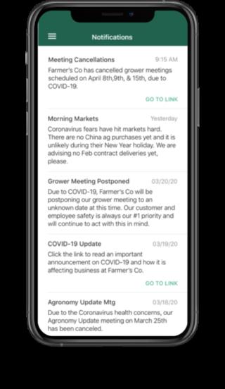 Push notifications on the Bushel-powered app.