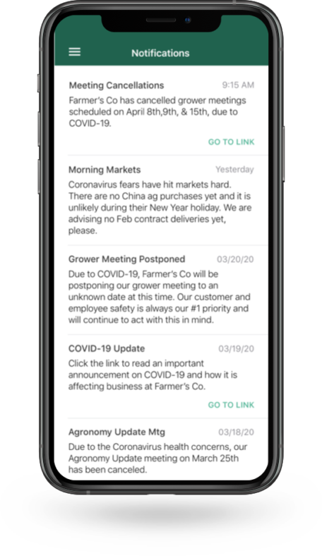 Push notifications on the Bushel-powered app.