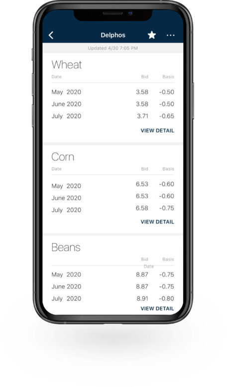 Bushel Mobile application with commodity cash bids displayed