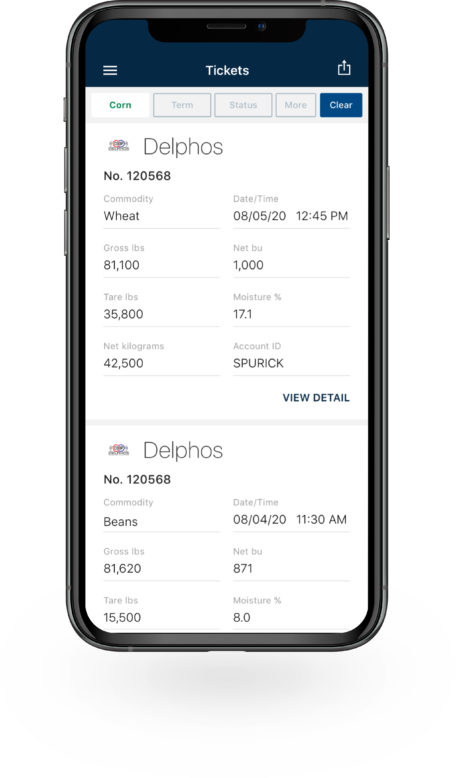 Bushel Mobile application with commodity tickets displayed