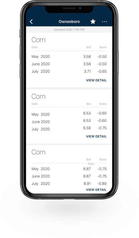 Bushel Mobile application with cash bids displayed