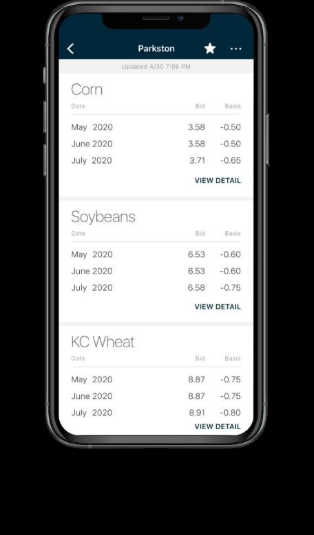 Bushel Mobile screen showing cash bids
