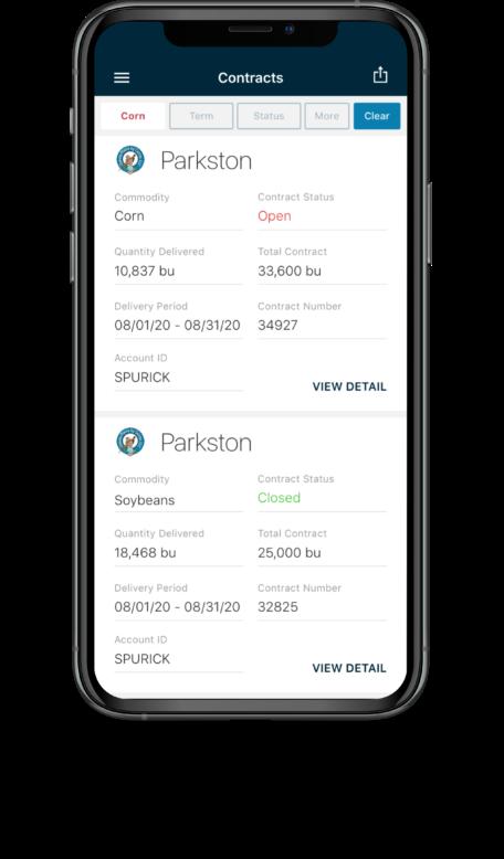 Bushel Mobile screen showing contract details