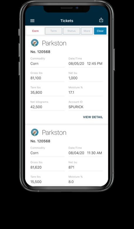Bushel Mobile screen showing ticket information