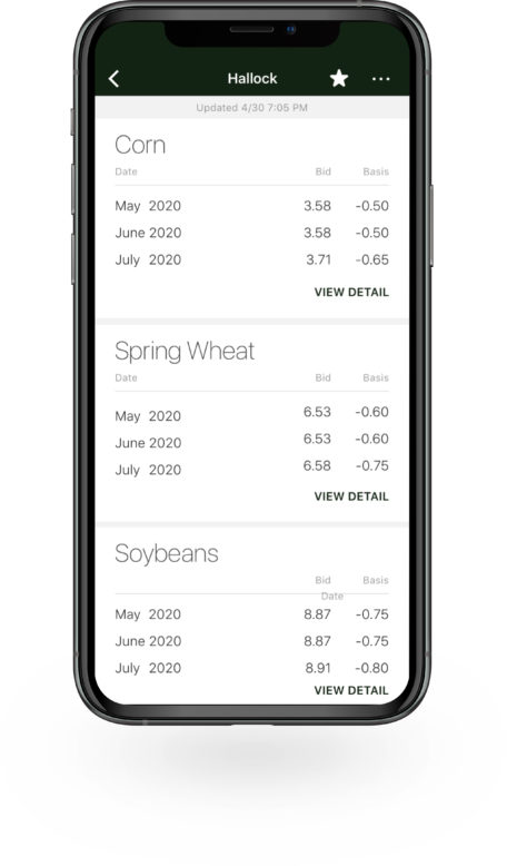 Bushel Mobile screen showing cash prices