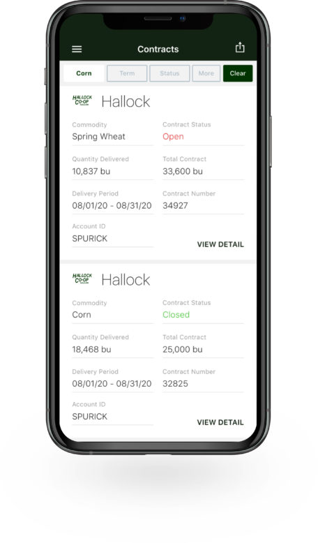 Bushel Mobile screen showing commodity contracts