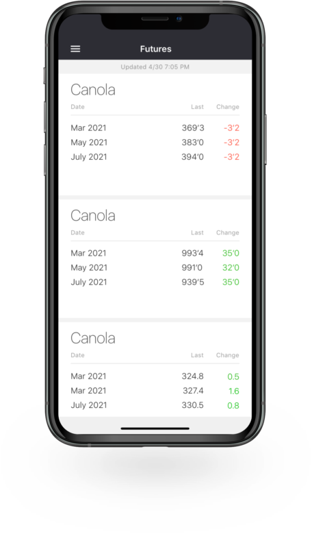 Bushel Mobile screen showing futures prices