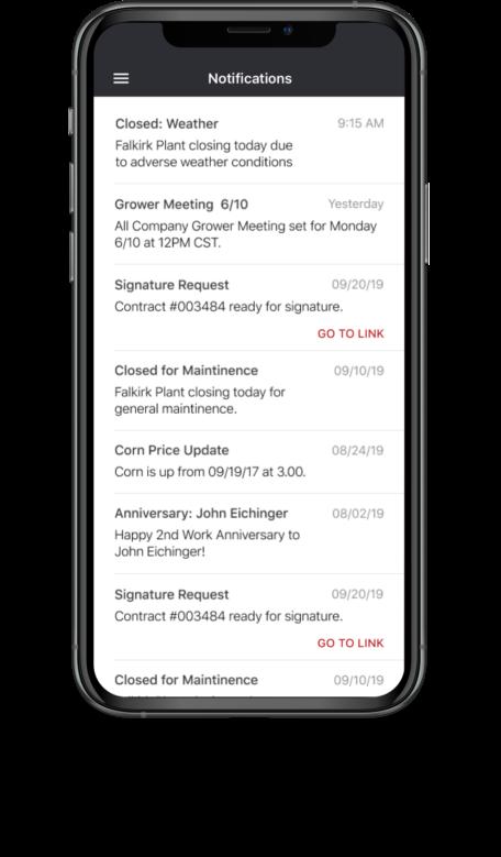 Bushel Mobile screen showing push notifications
