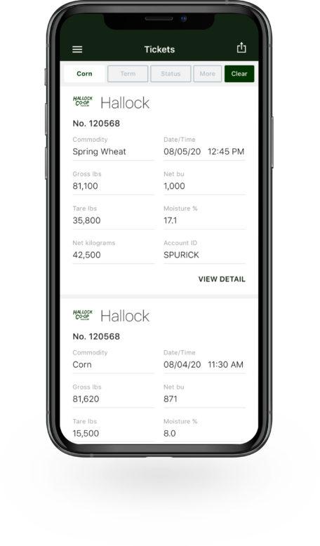 Bushel Mobile screen showing tickets