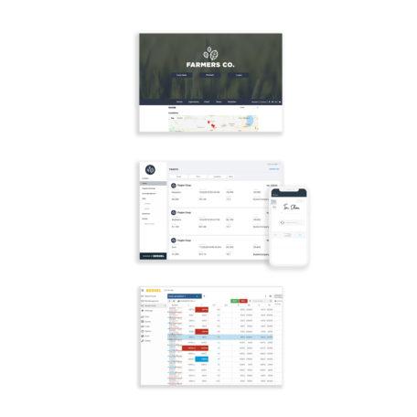 Images of Bushel products, including mobile applications, websites, and offer management platform for ag companies