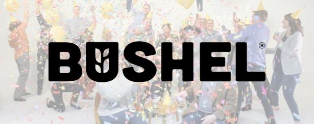 Black Bushel logo on top of faded image of Bushel teammates celebrating