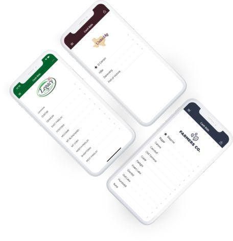Customized branding on three Bushel Mobile applications for grain companies, grain elevators, and grain processors.