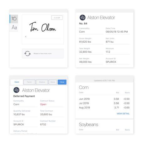 Four mobile app cards