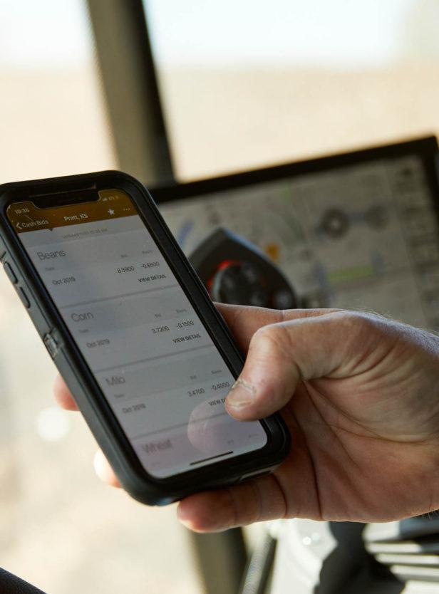 Producer or farmer using the Bushel Mobile app